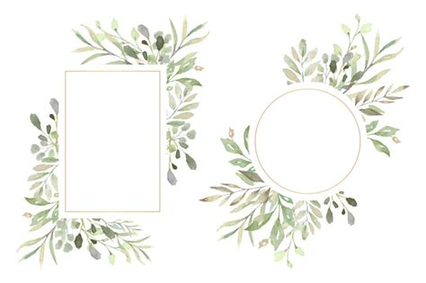 cornici floreali gratis cornici floreali con foglie acquerello scaricare