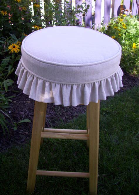 Bar Stool Pads Covers by Linen Barstool Slipcover And Cushion Ruffled Skirt Bar Stool