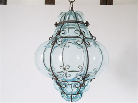 Vintage crystal blue Murano Glass Cage Pendant Lantern   Omero Home
