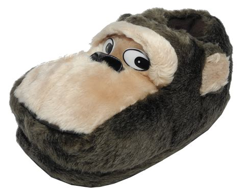 monkey slippers mens novelty fur animal gorilla monkey slippers black