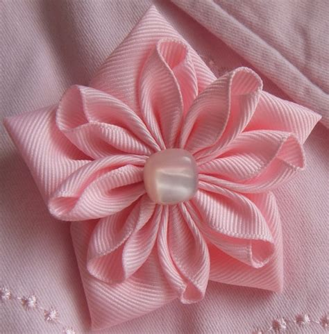 Handmade Ribbon Flowers - pink ribbon flower pin brooch grosgrain ribbon pin handmade