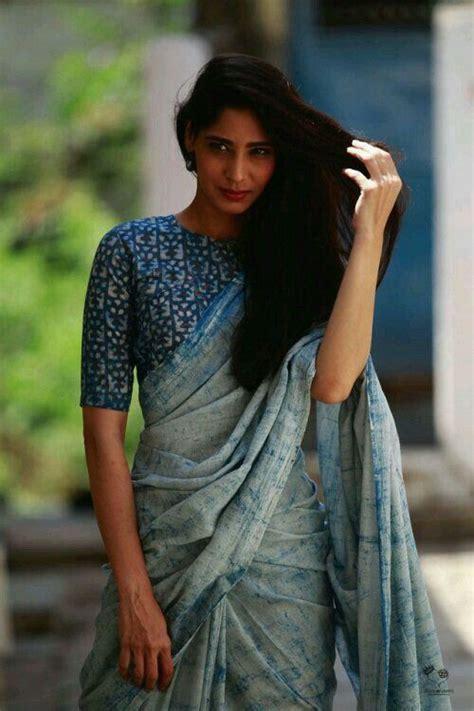 Linen Cotton Blouse high neck linen cotton blouse blouse designs saree