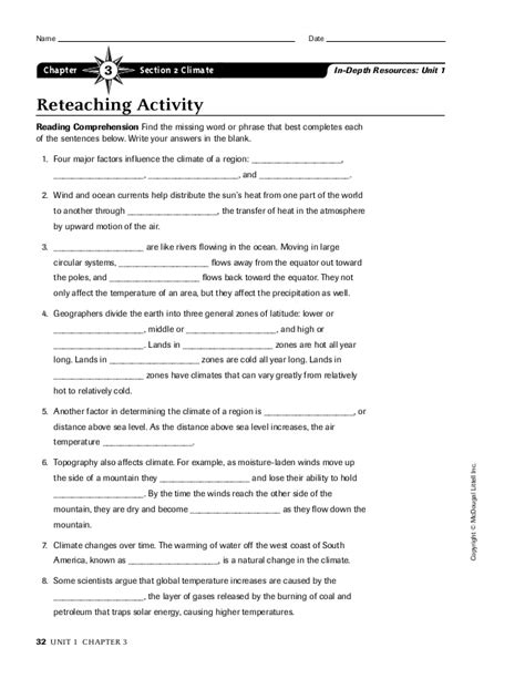 Section 4 1 The Of Climate Answers by Ch 3 Section 2 Worksheet
