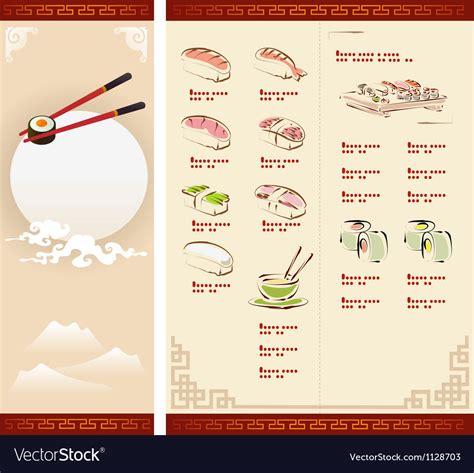 Template Design Of Sushi Menu Royalty Free Vector Image Sushi Menu Template Free