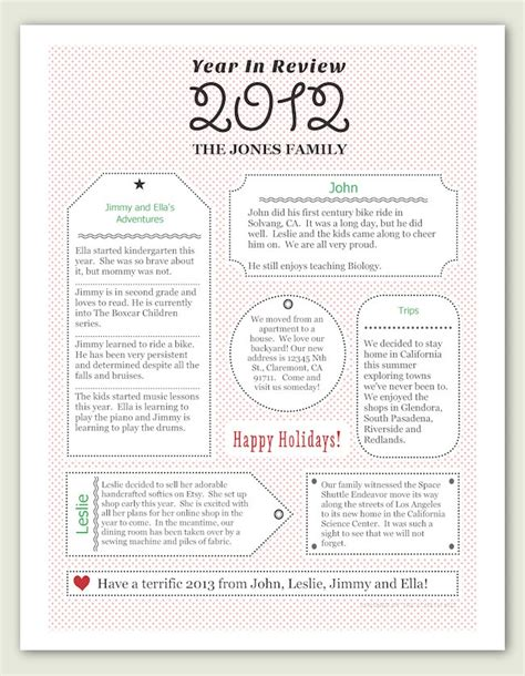Year In Review Card Template by Pin By Clare On