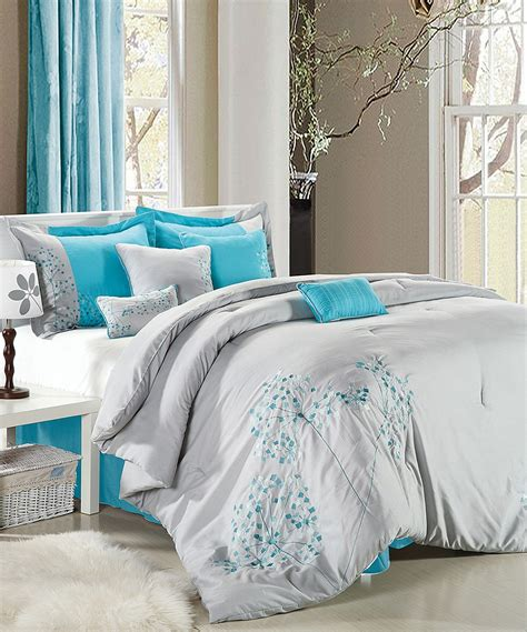 zulily bedding turquoise and gray bedding gray turquoise floral embroidered comforter set zulily