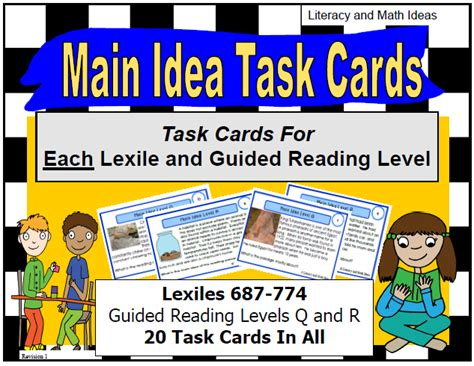 main idea and themes reading plus literacy math ideas task cards organized by lexile and