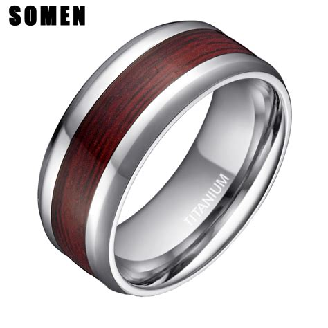 Wooden Wedding Rings Our One 5 by 8mm S Real Wood Inlay Titanium Ring Wedding Band