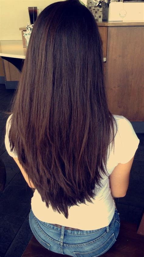 blunt cuts with deep layers long deep espresso brown hair with short chunky layers