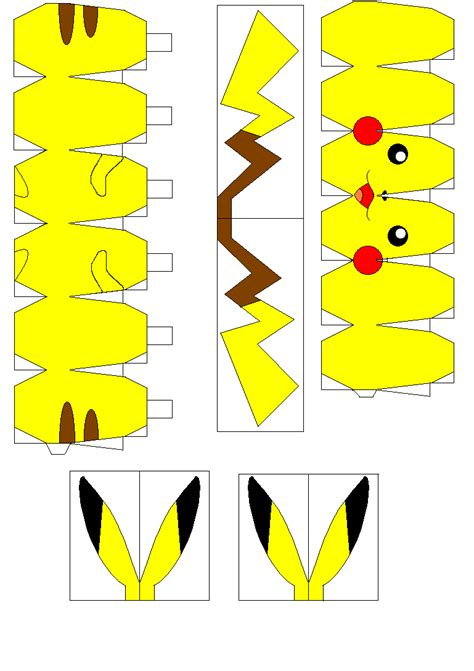 Pikachu Papercraft Template - pikachu papercraft patterns pikachu and html