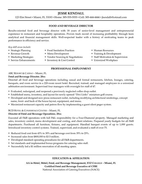 resume sles for food service manager food and beverage manager resume printable planner template