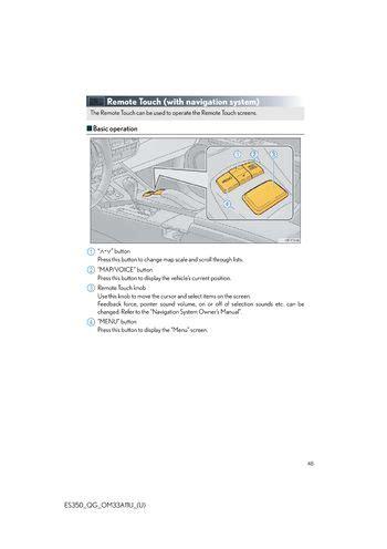 download car manuals 2000 lexus lx navigation system download 2013 lexus es350 remote touch with navigation system pdf manual 48 pages