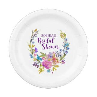 bridal shower paper plates purple bridal shower plates zazzle
