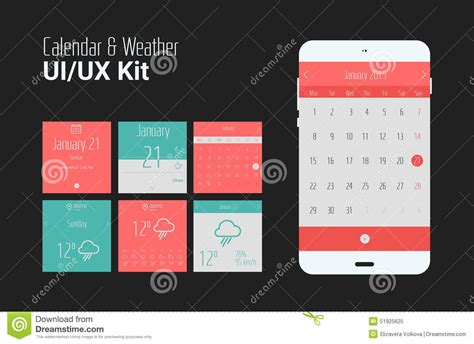 Calendar Mobile Flat Ui Or Ux Mobile Calendar And Weather Apps Kit Stock