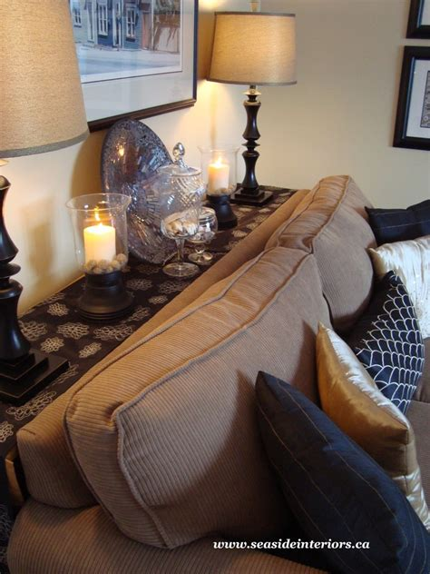 table behind the couch behind sofa table living room traditional with black