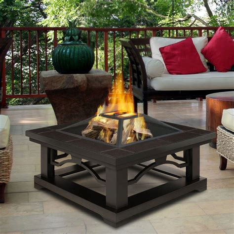 Real Flame Crestone 34 In Steel Framed Wood Burning Fire Wood Firepits