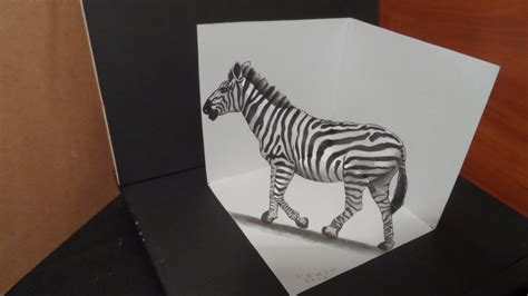 How To Make 3d Drawing On Paper - drawing 3d zebra trick on paper by vamosart on deviantart