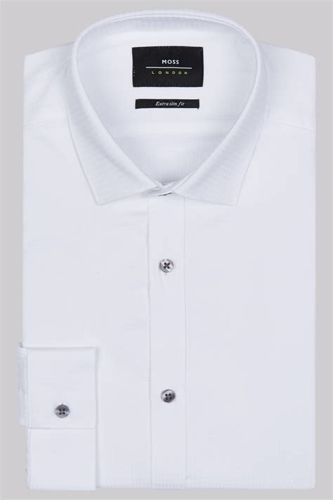 White Shirt Layer Houndstooth moss slim fit white single cuff houndstooth shirt
