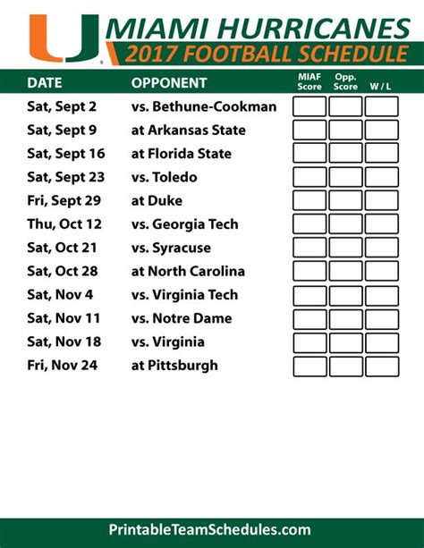 printable hurricanes schedule 15 best sec football college team schedules images on