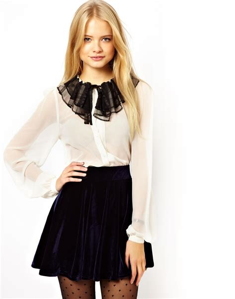 Lacy Ruffle Blouse Top lyst asos blouse with contrast lace ruffle collar
