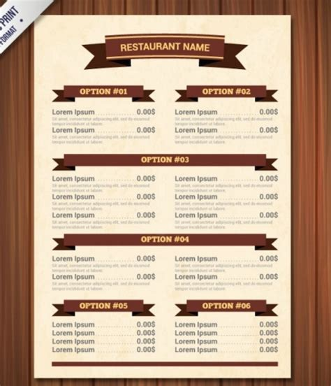 free menu template psd template for restaurant menu invitation template