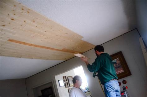 Cover A Popcorn Ceiling by Covering Popcorn Ceilings With Planks The Elliott Homestead