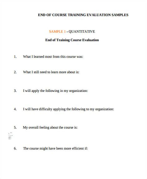 end of course evaluation template sle evaluation form