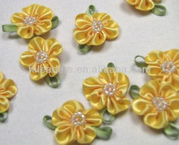 Handmade Flowers With Ribbons - wholesale yellow handmade satin ribbon flowers buy