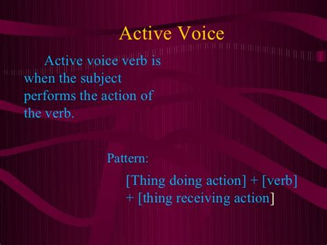 what is the pattern of passive voice activeand passivevoicepp