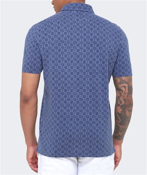 Patterned Polo Shirt gran sasso blue geometric patterned polo shirt jules b