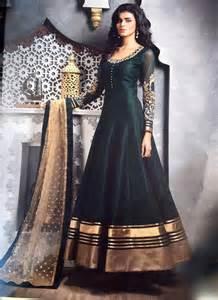 Discount Designer Wedding Dresses Delectable Embroidered Bhagalpuri Silk Black Designer Floor Touch Anarkali Suit