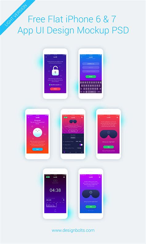 flat design app mockup free iphone 6 7 app ui design screen mockup psd