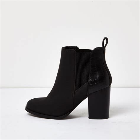 river island black patent panel heeled chelsea boots in
