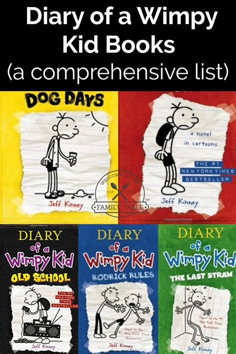diary   wimpy kid books    family table