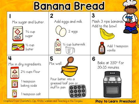 preschool recipe card template banana bread play to learn