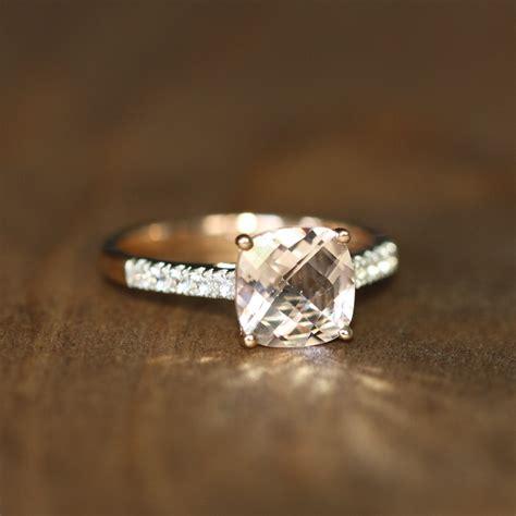 cushion cut morganite engagement ring 14k gold pink