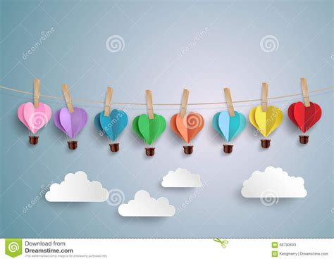 Origami Air Balloon - air balloon in a shape stock vector image