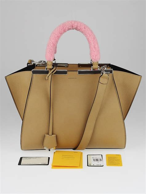 Fendi Shearling Shopping Chef Bag by Fendi Brown Calfskin Leather And Lollypop Shearling Small