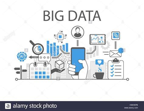 big data infographic vector illustration  hand holding smartphone stock vector art