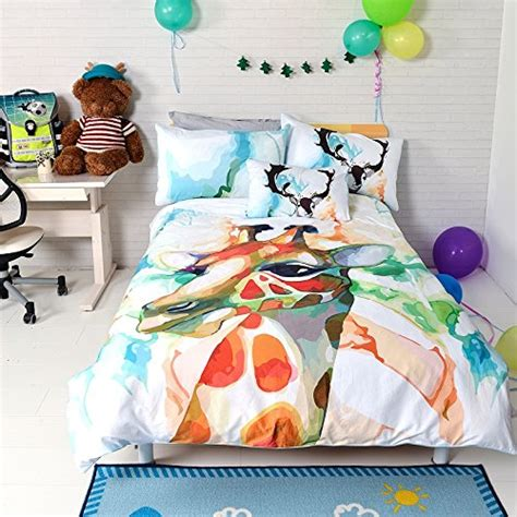 kids cotton comforter lelva children s bedding set cotton cartoon giraffe duvet