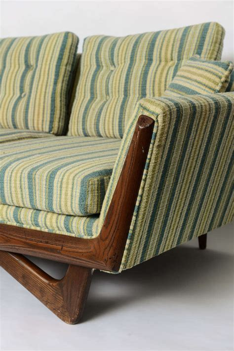 Trim And Upholstery by Adrian Pearsall Boomerang Sofa With Walnut Trim And
