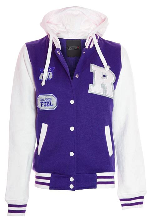 Varsity Plus womens size contrast badge baseball hooded varsity plus