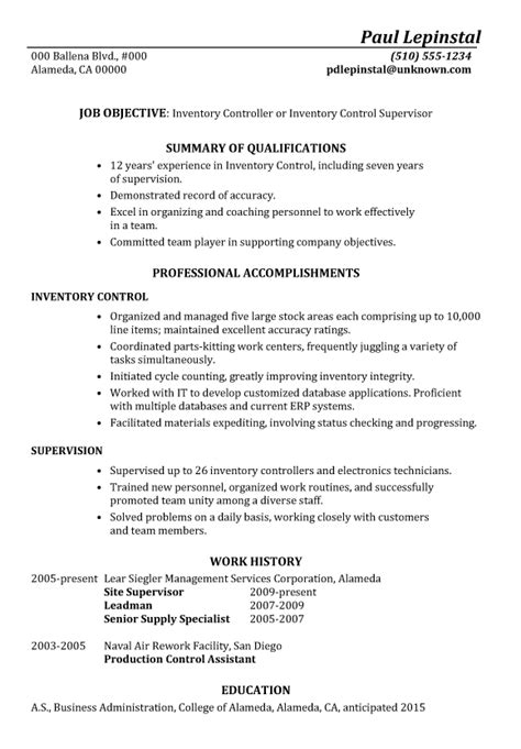 Inventory Resume by Resume Sle Inventory Supervisor