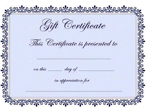 download free gift certificate template template