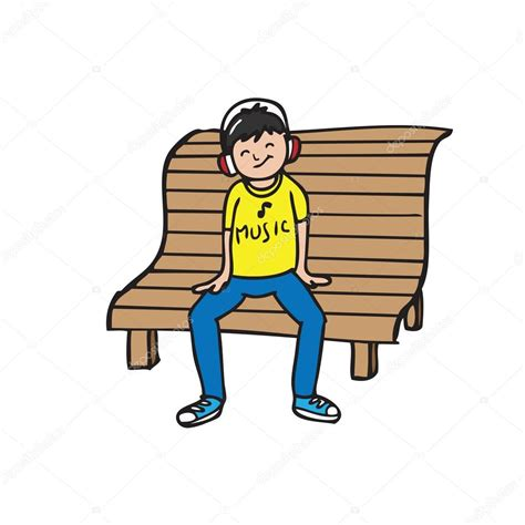 bench to sit on boy sit on bench listen music stock vector 169 tawesit