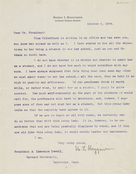 Harvard Scholarship Letter henry higginson expresses his support for inez