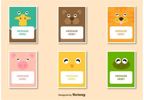 message card template friendly animal characters card template vectors