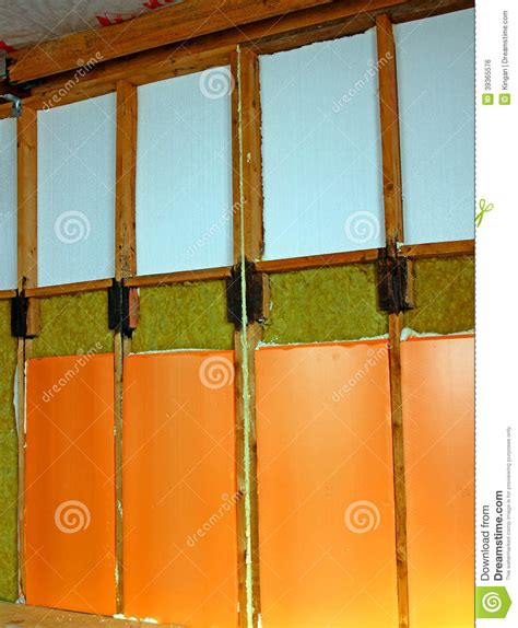 types of house insulation walls of a frame house with different types of heat insulation stock photo image