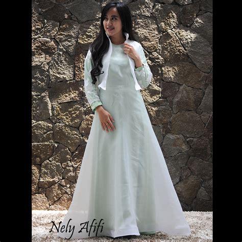 desain gaun organza gaun pengantin muslimah organza putih hijau