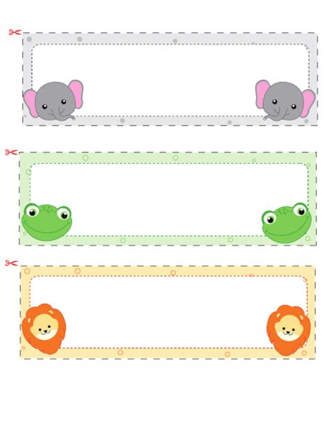 children s name card templates name cards for 2 elephant classroom